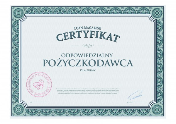 Certyfikat odpowiedzialny pożyczkodawca