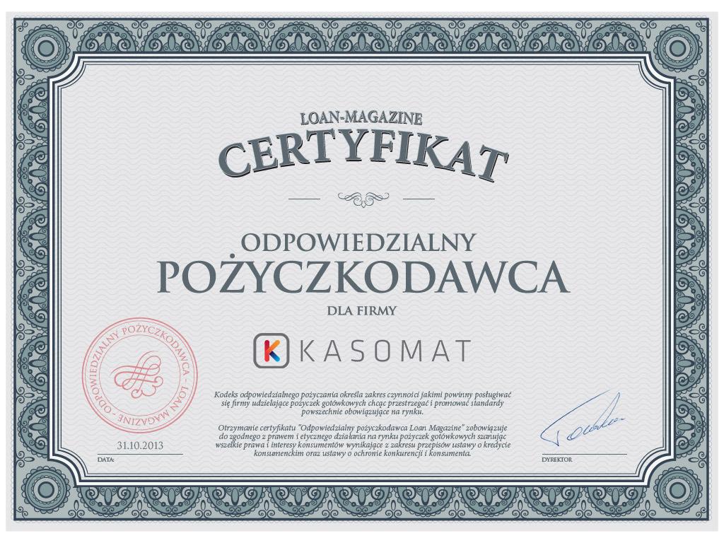 Odpowiedzialny pożyczkodawca Kasomat