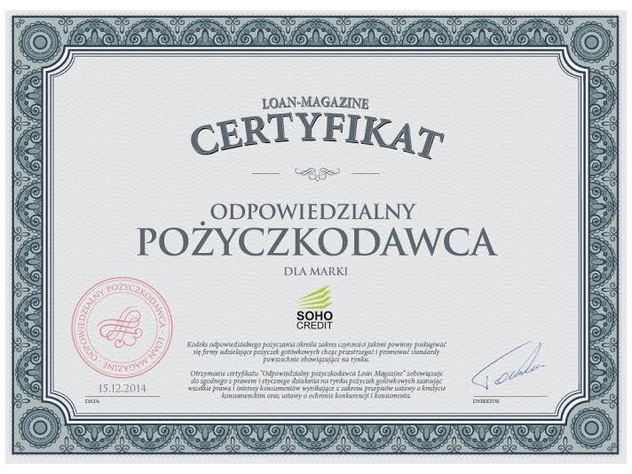 soho certyfikat