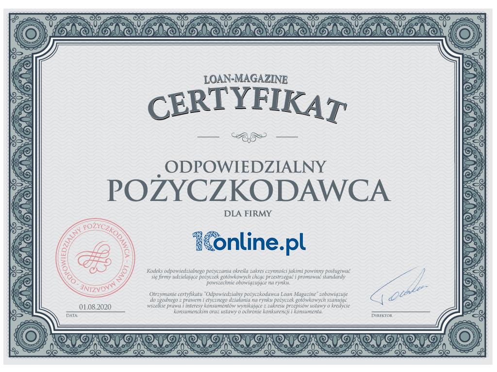 10online.pl certyfikat