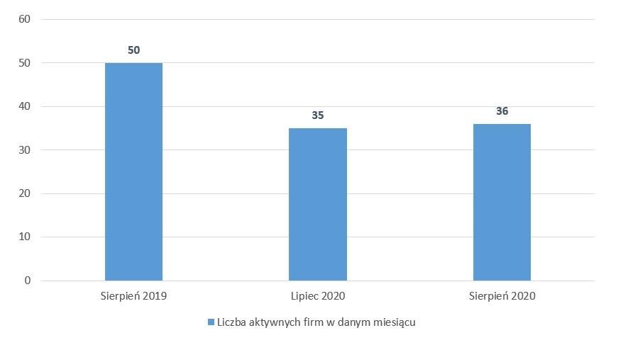 wykres liczba aktywnych firm