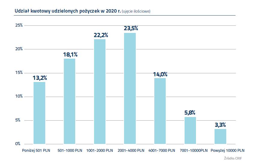 udział kwotowy udzielonych pożyczek w 2020